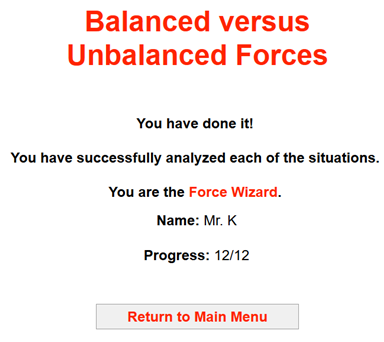 Net Force Unbalanced Forces